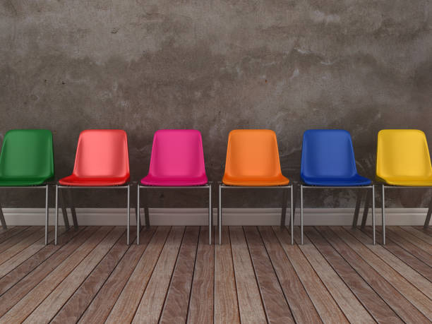 Stühle im Stock - Reihe 3D-Rendering – Foto