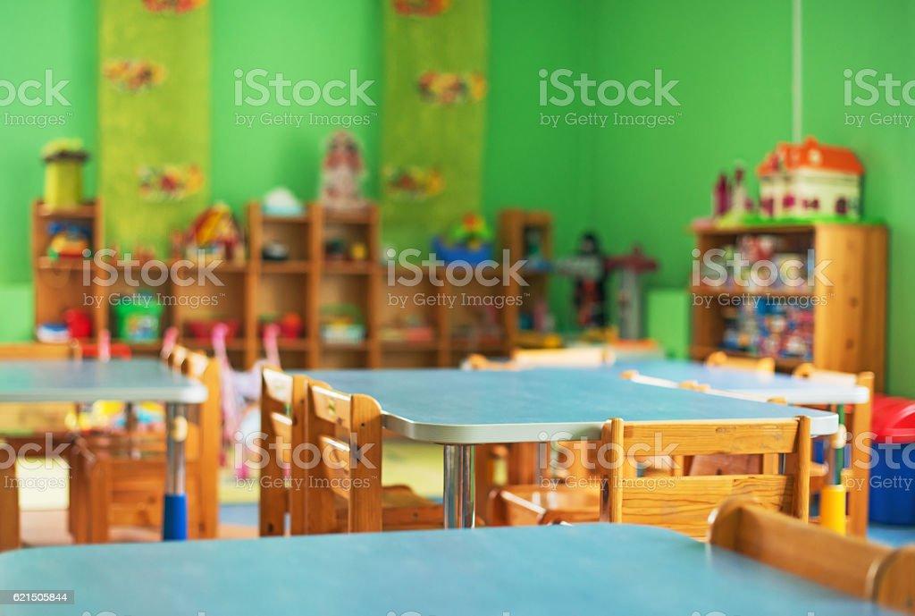 Chairs, table and toys. Interior of kindergarten. Lizenzfreies stock-foto