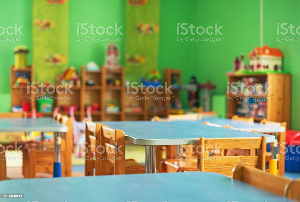 Chairs, table and toys. Interior of kindergarten. – Foto