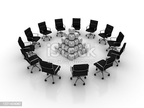 942703718 istock photo Chairs Teamwork with Pyramid of Blocks - 3D Rendering 1221404062