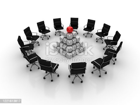 942703718 istock photo Chairs Teamwork with Pyramid of Blocks - 3D Rendering 1221613817