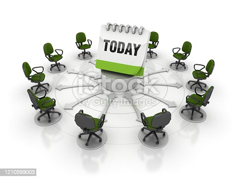 Chairs Teamwork with TODAY Calendar - White Background - 3D Rendering