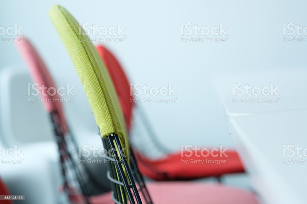 Chairs with backrest and table stock photo