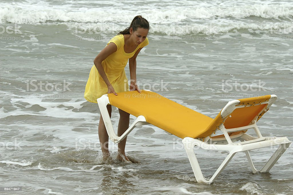 chaise longue by water royalty-free stock photo