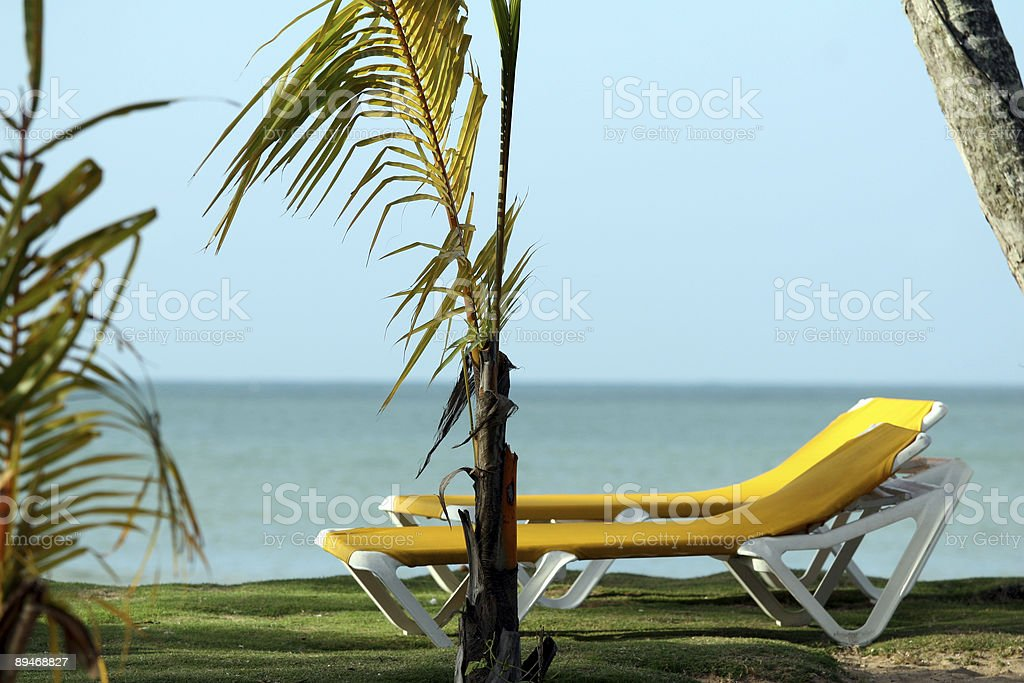 Chaise Longues on the beach royalty-free stock photo
