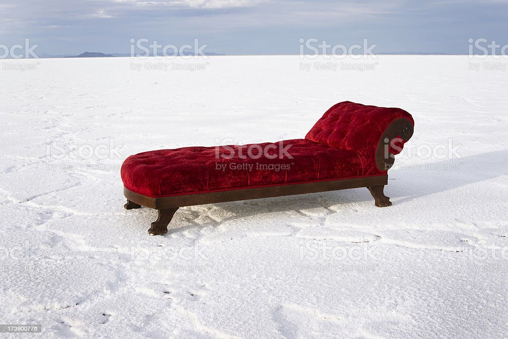 Chaise Lounge in the Desert stock photo