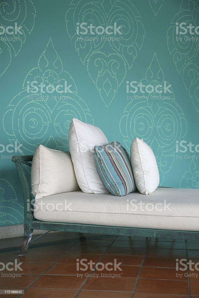 Chaise With Pillows royalty-free stock photo