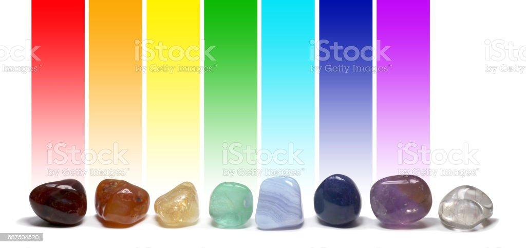 Chakra Healing Crystals Colour Chart stock photo