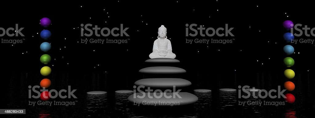 chakras and buddha - 3d render stock photo