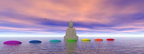 chakren und buddha - lotus symbol stock-fotos und bilder