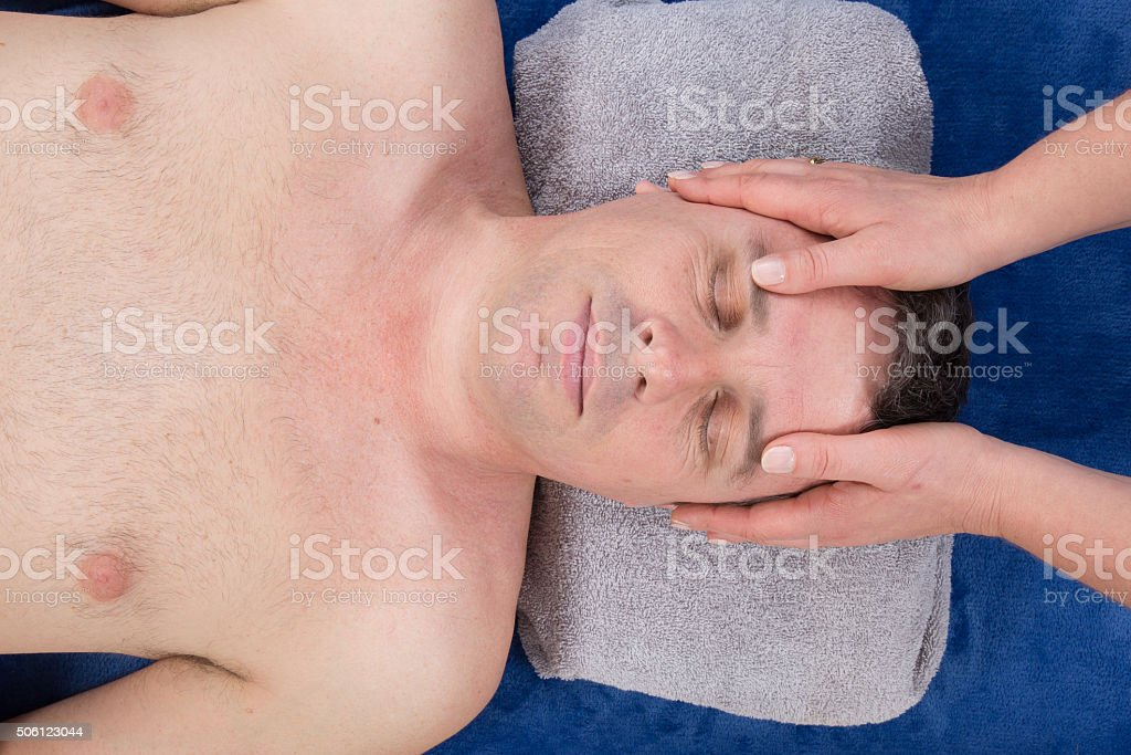Chakras head massage ancient Maya therapy central America shiatsu stock photo