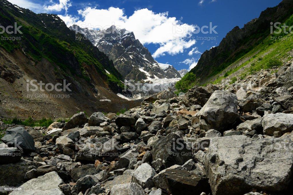 Chalaadi glacier in the Caucasus stock photo