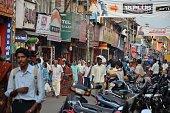 Thiruvananthapuram, Kerala, India: November 3, 2011: Unidentified people in the Chalai Bazaar, Thiruvananthapuram, Kerala, India