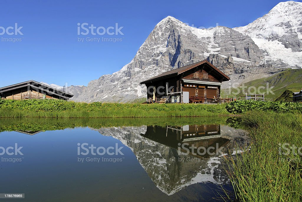 Chalet and Eiger Mountain, Switzerland royalty-free stock photo