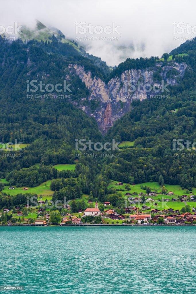 Chalet at Lake Brienz and Brienzer Rothorn mountain Bern Switzerland stock photo