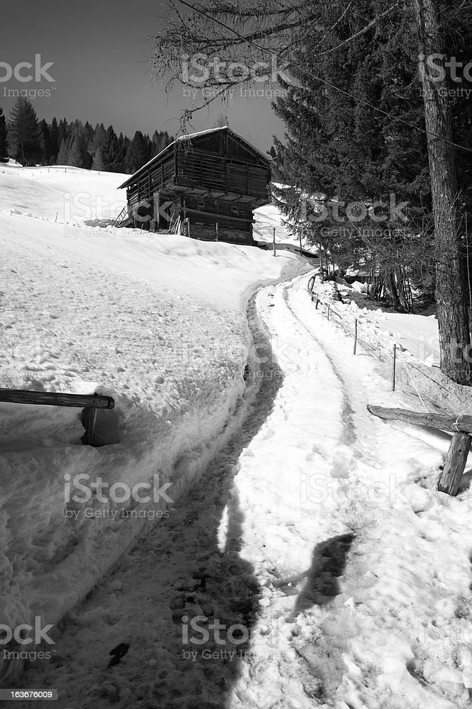 Chalet. Black and White royalty-free stock photo