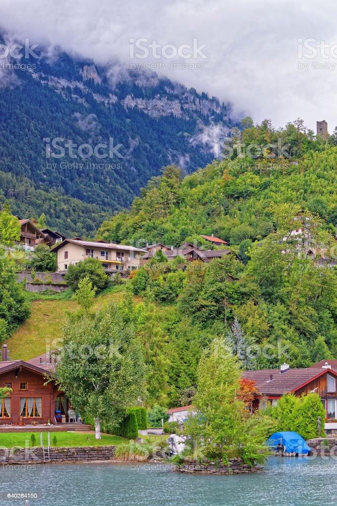 Chalet in Lake Brienz and Brienzer Rothorn mountain Bern Switzerland stock photo