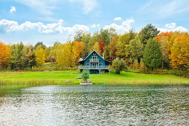 Chalet on A Private Lake stock photo