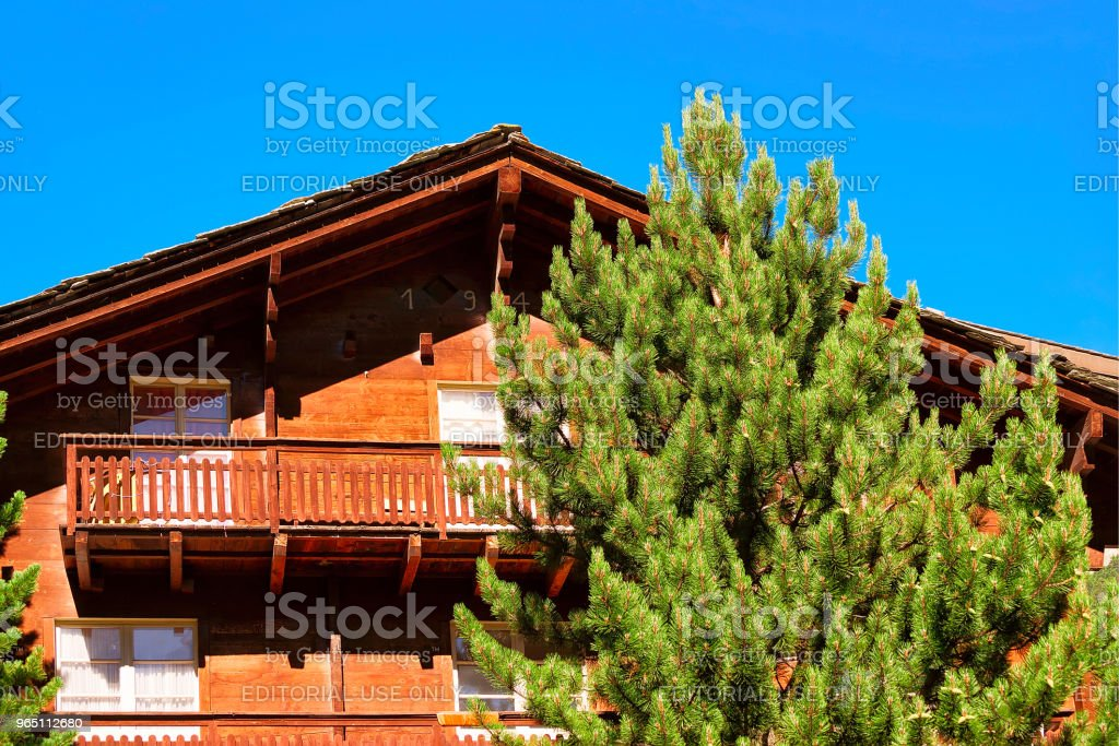 Chalet with balconies in resort city Zermatt Swiss CH zbiór zdjęć royalty-free