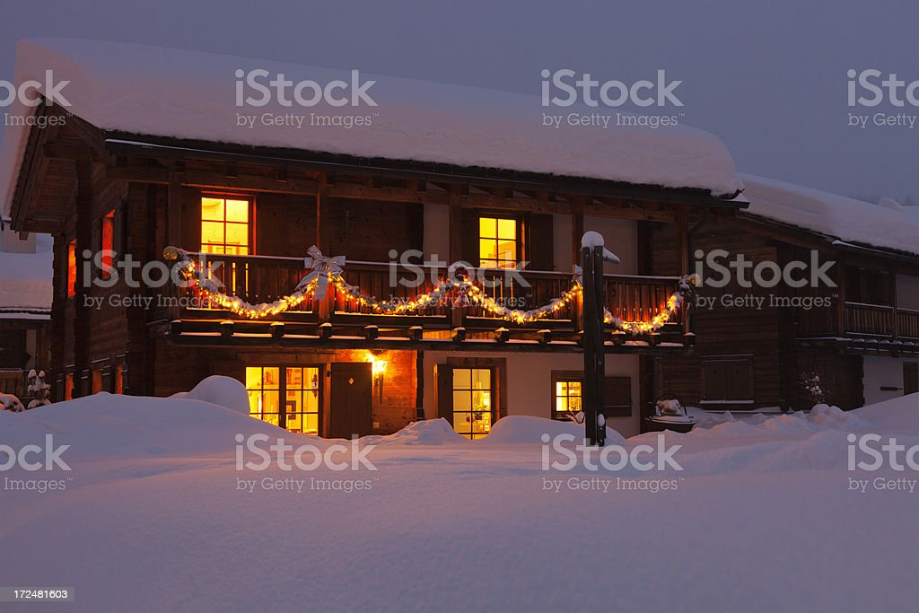 Chalet with Christmas Ornaments stock photo