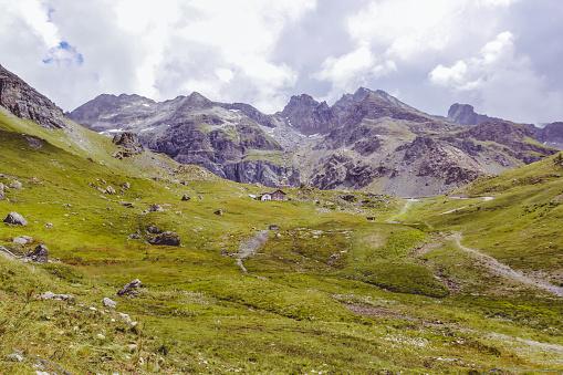 Chalets near Gabiet Lake on the Monte Rosa massif
