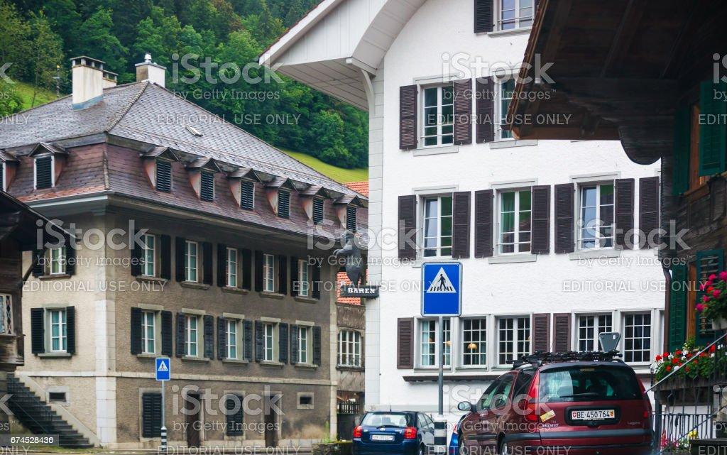 Chalets of Boltigen at Jaun Pass in Fribourg Switzerland stock photo