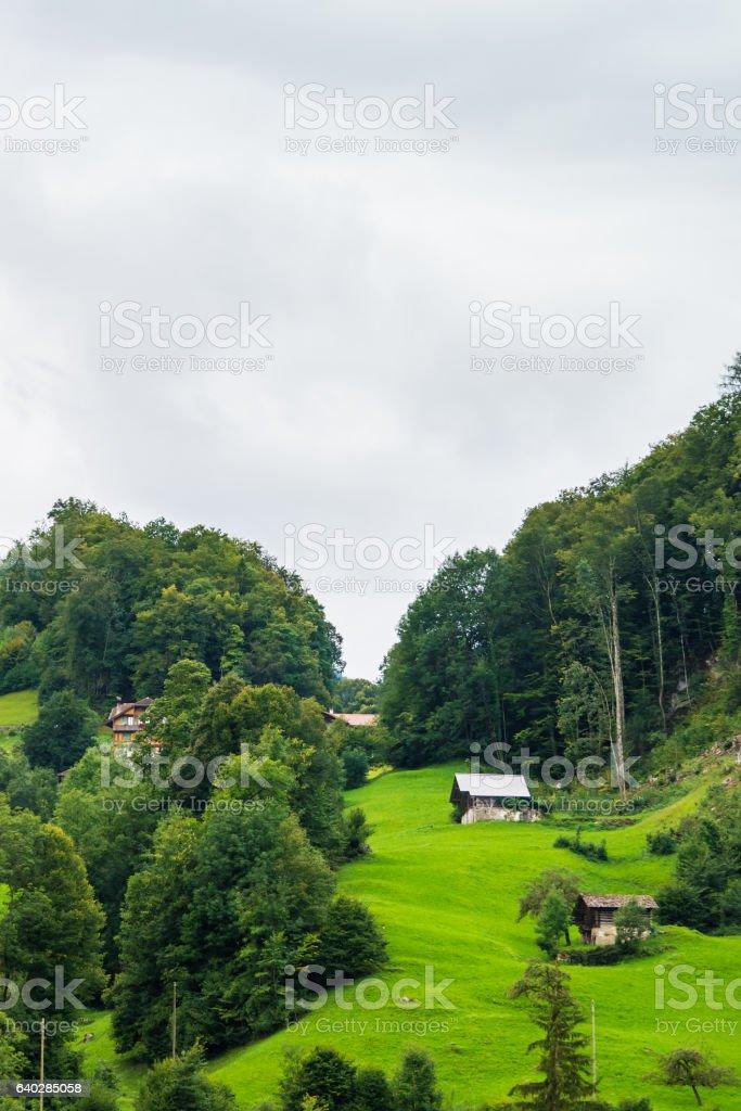 Chalets of Brienz village and Brienzer Rothorn mountain Bern Switzerland stock photo