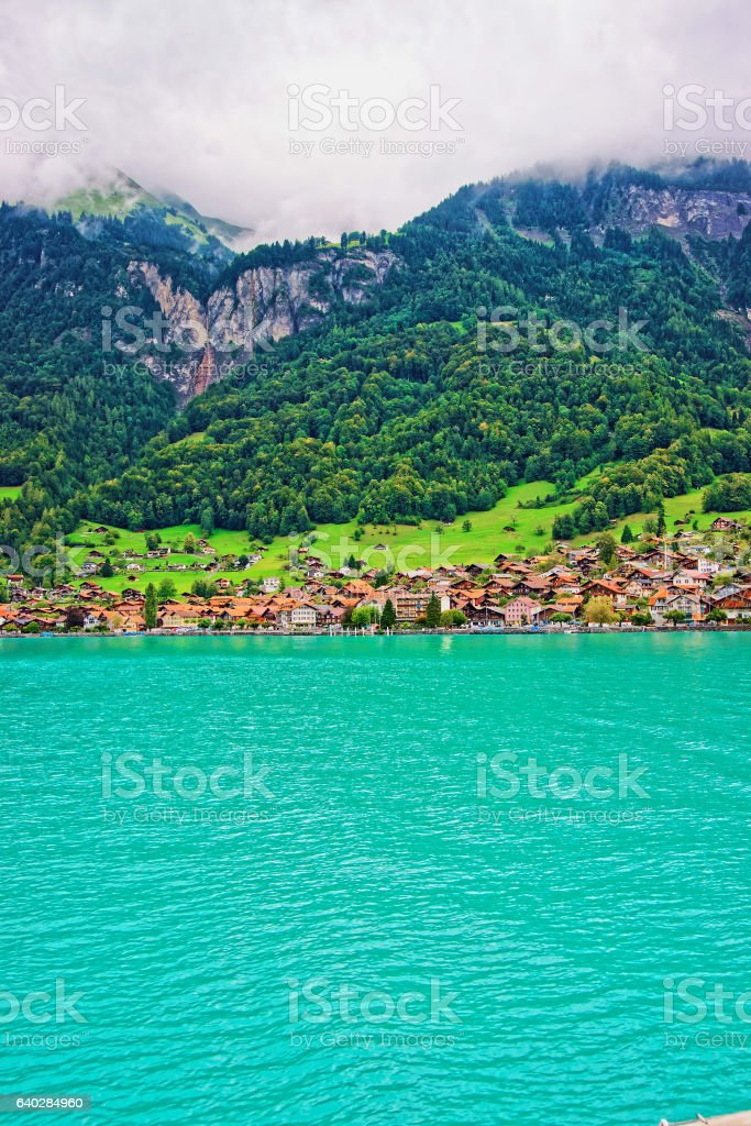 Chalets on Lake Brienz and Brienzer Rothorn mountain Bern Switzerland stock photo