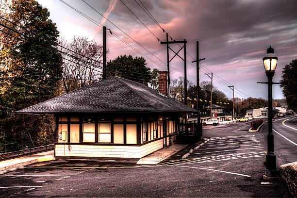 Chalfont train station in Pennsylvania stock photo