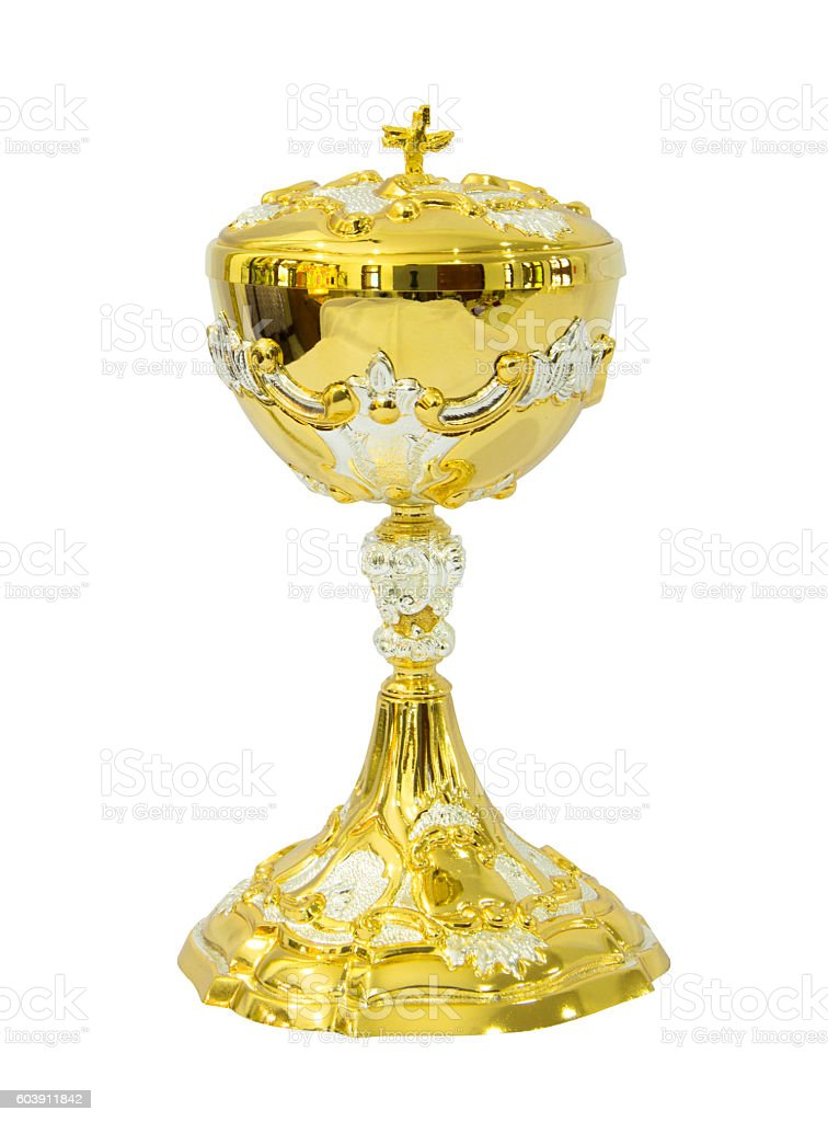 Chalice Eucharist on white background stock photo