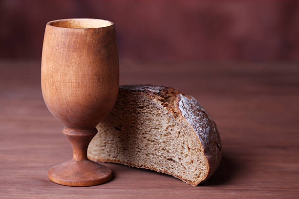 Chalice Of Wine And Bread stock photo