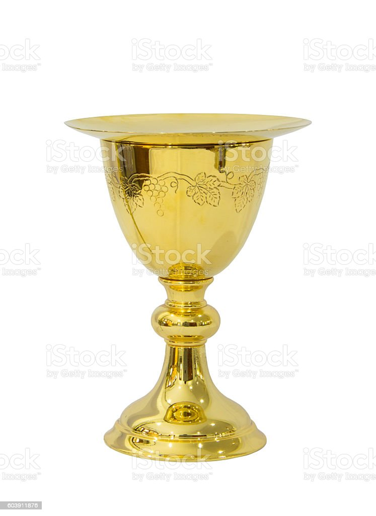 Chalice with plate on white background stock photo