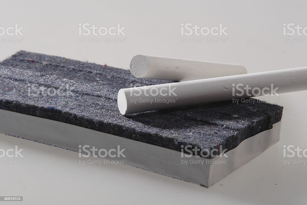 chalk and eraser royalty-free stock photo