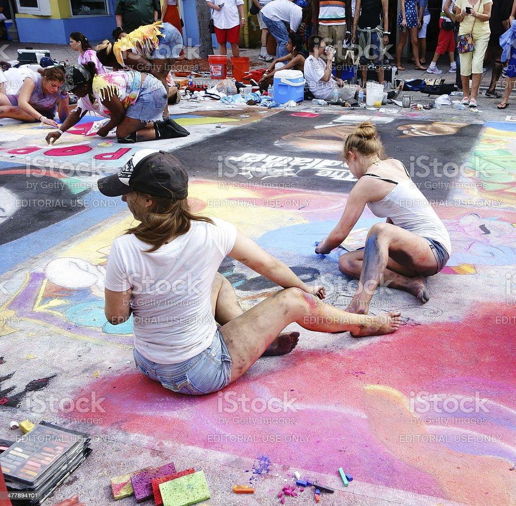 Chalk artists at Lake Worth Street Painting Festival stock photo