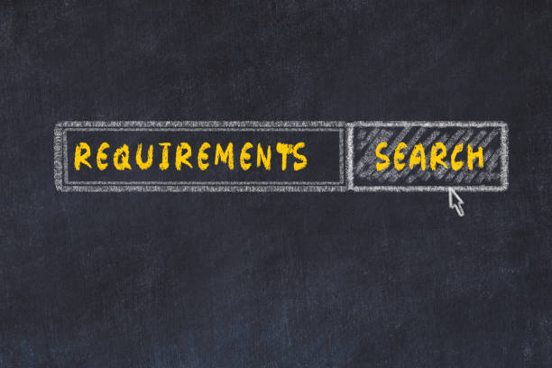 Chalk board sketch of search engine. Concept of looking for requirements