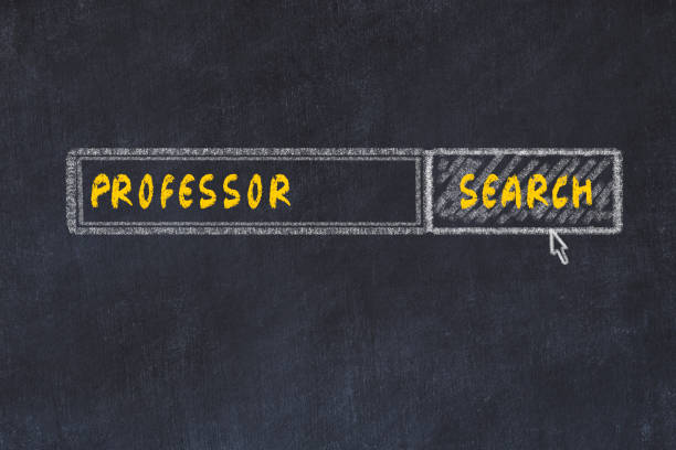 Chalk board sketch of search engine. Concept of searching for professor