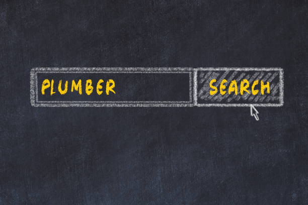 Chalk board sketch of search engine. Concept of searching for plumber