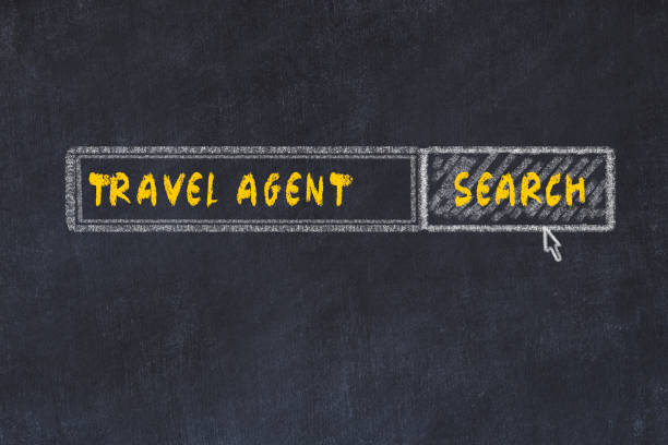 Chalk board sketch of search engine. Concept of searching for travel agent
