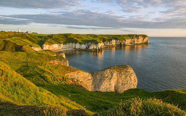 Chalk cliffs and North Sea at dawn, Flamborough, Yorkshire, UK. Flamborough, Yorkshire, UK. Chalk cliffs and North Sea at dawn on a fine summer morning near Flamborough Head, Yorkshire, UK. headland stock pictures, royalty-free photos & images