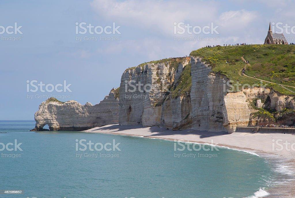 Chalk cliffs at Cote d'Albatre. Etretat, France stock photo