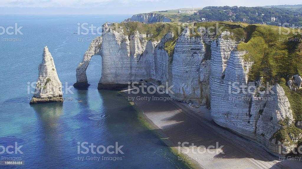 Chalk cliffs at Cote d'Albatre. Etretat royalty-free stock photo