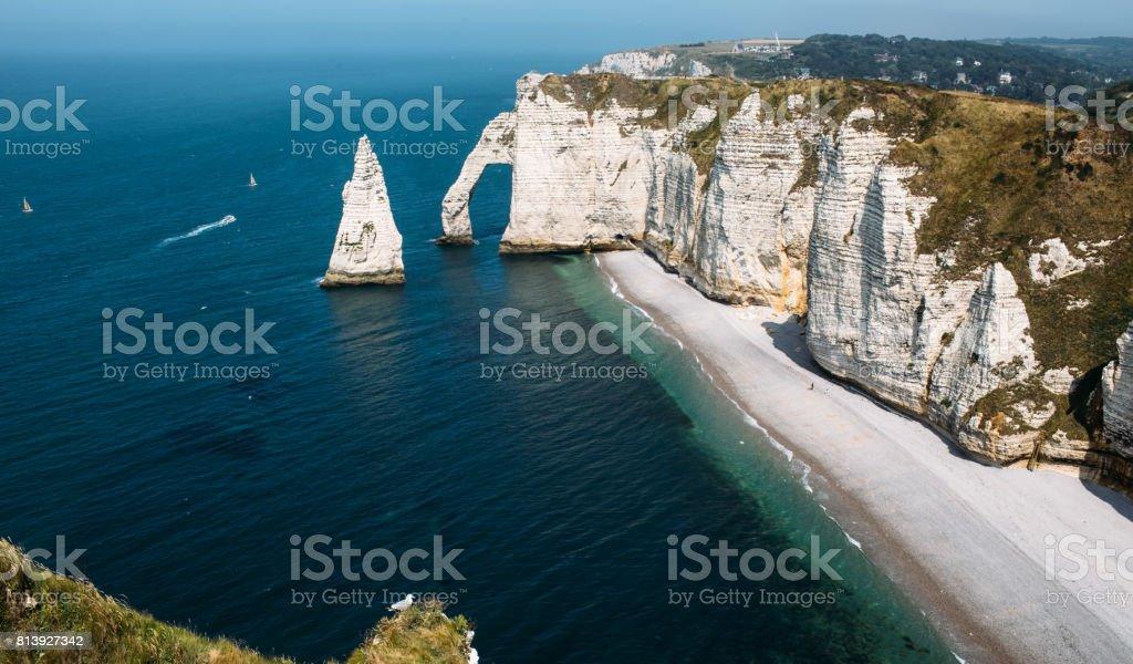Chalk cliffs at Cote d'Albatre. Etretat stock photo