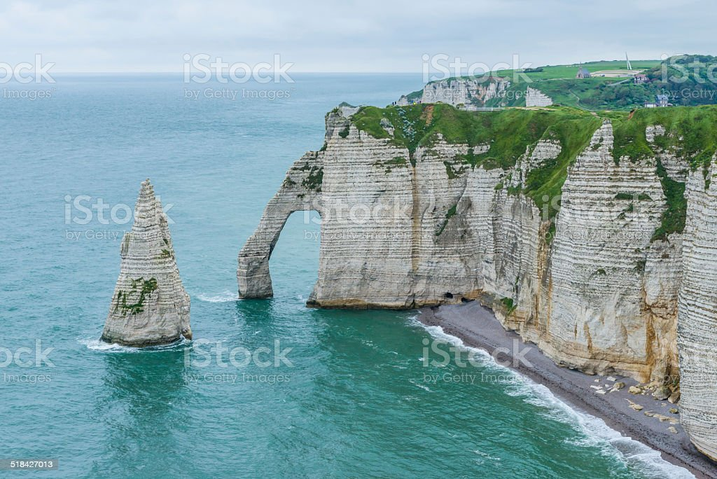 Chalk Cliffs at Normandie, France stock photo