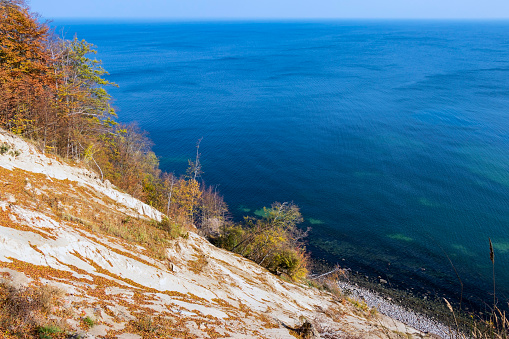 Chalk cliffs at the coastline of the Rugen Island near Sassnitz (Mecklenburg-Vorpommern, Germany)