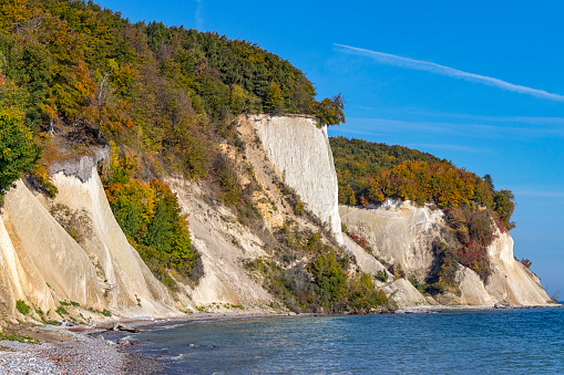 Chalk cliffs at the coastline of the Rugen Island near Sassnitz (Mecklenburg-Vorpommern, Germany).