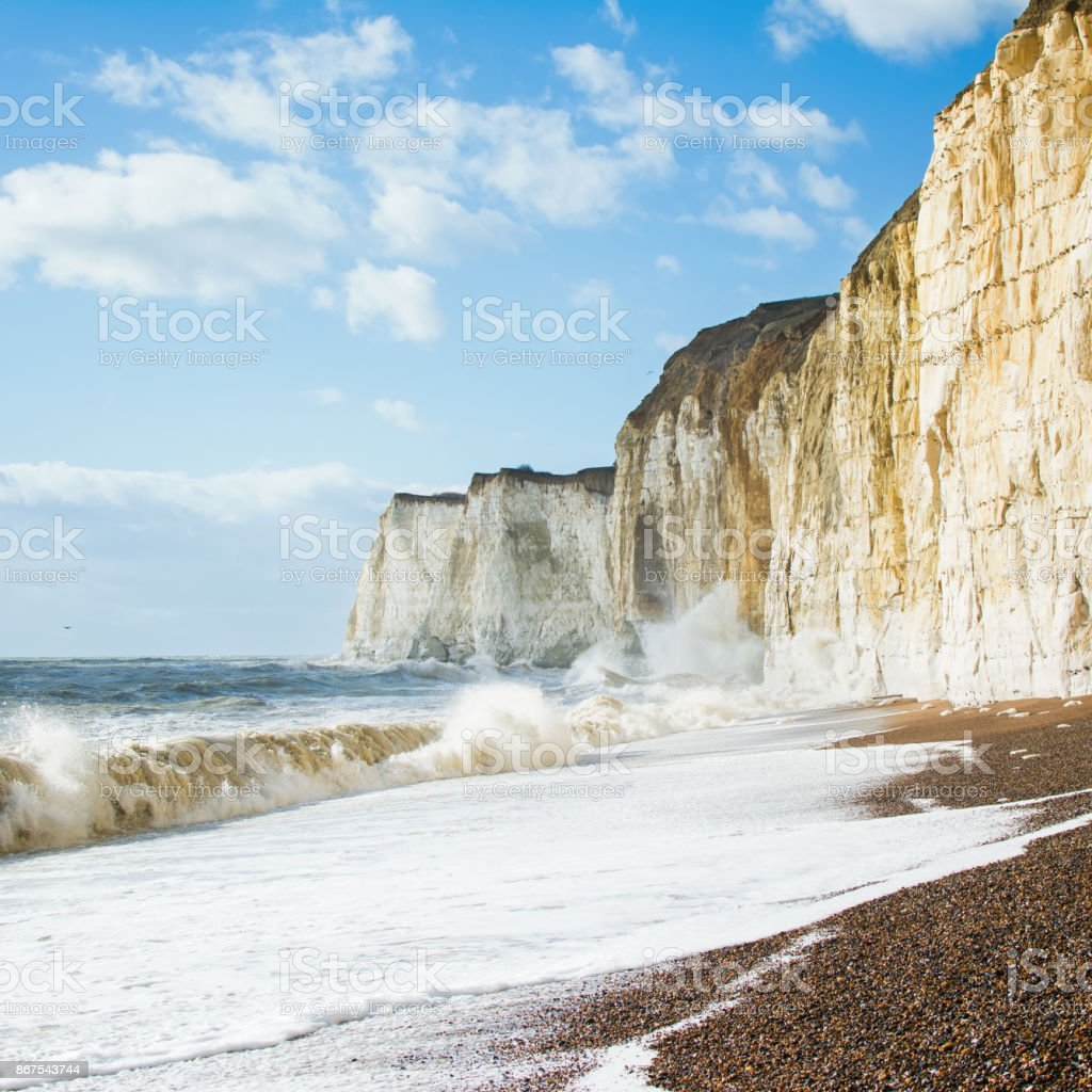 Chalk cliffs between Seaford and Newhaven, England stock photo