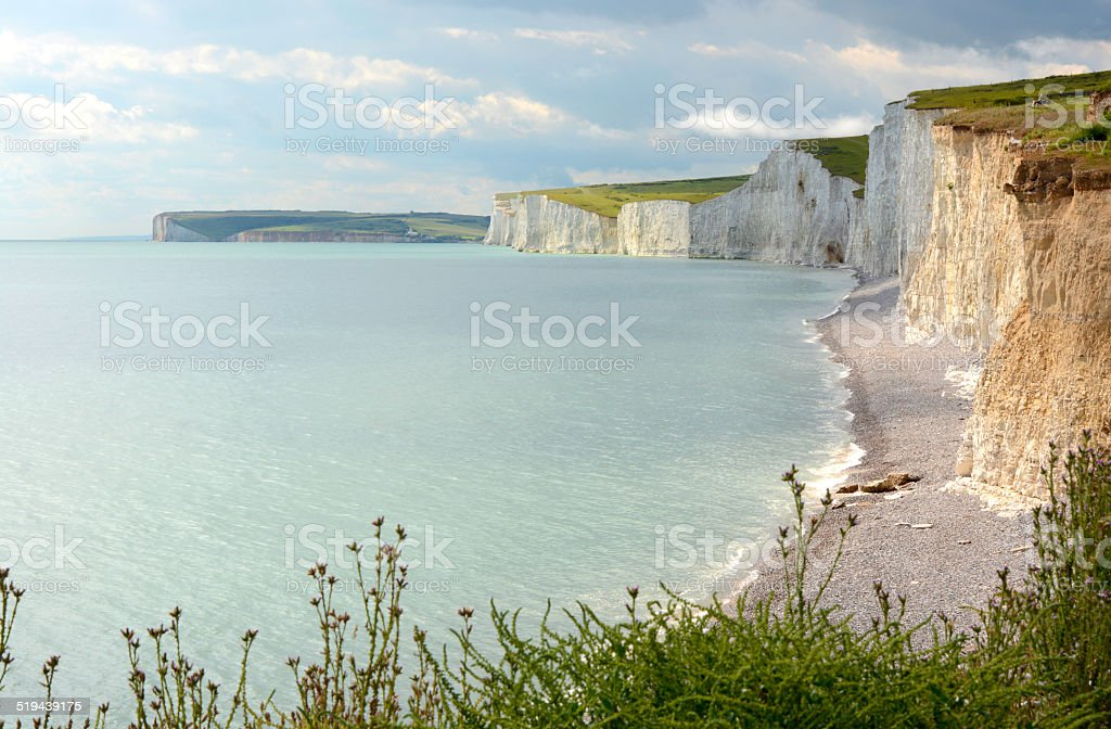 Chalk Cliffs in Sussex. England stock photo