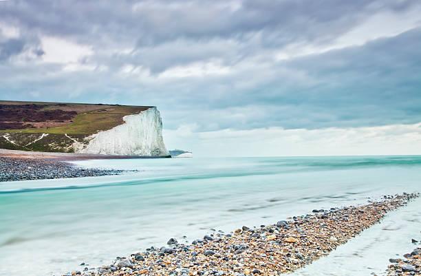 chalk cliffs sussex uk stock photo