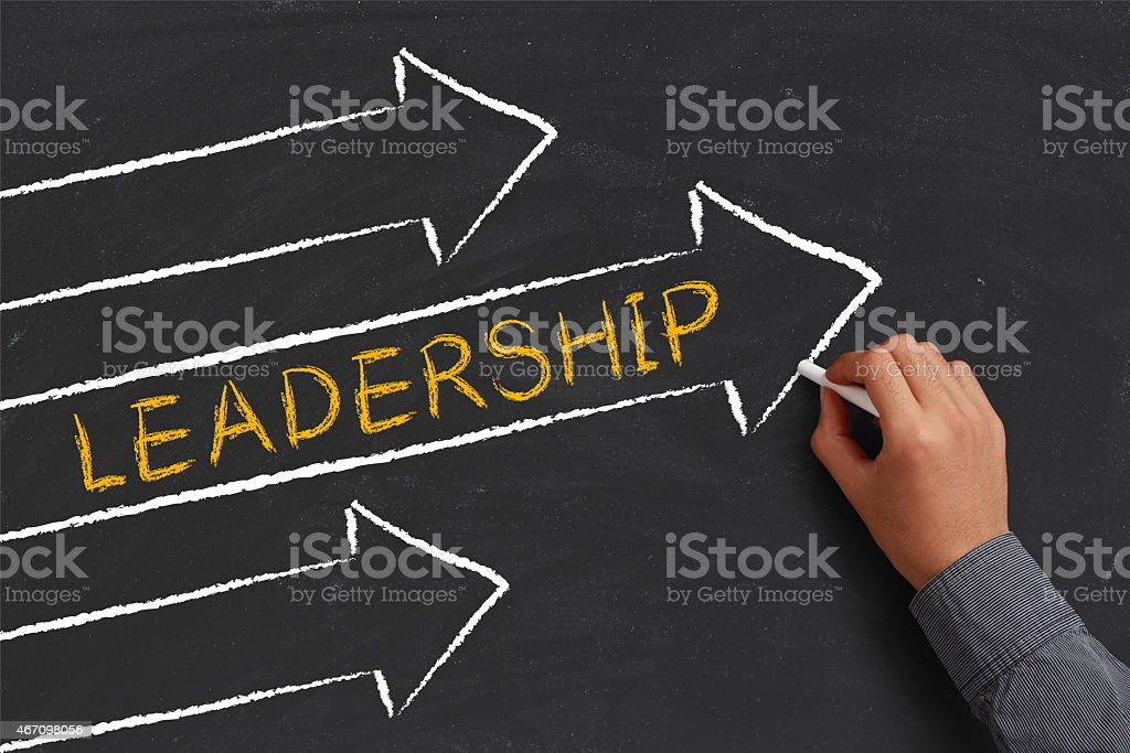 A chalk diagram of a leadership concept stock photo