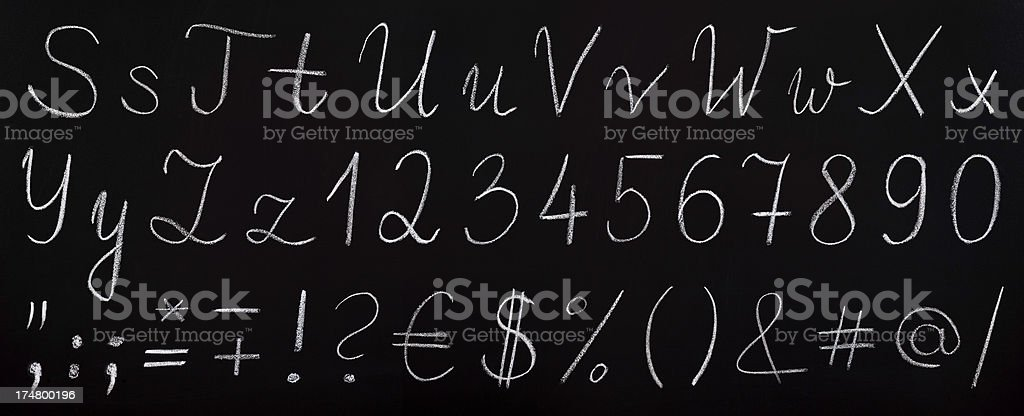 chalk drawing font on blackboard (part 2) royalty-free stock photo